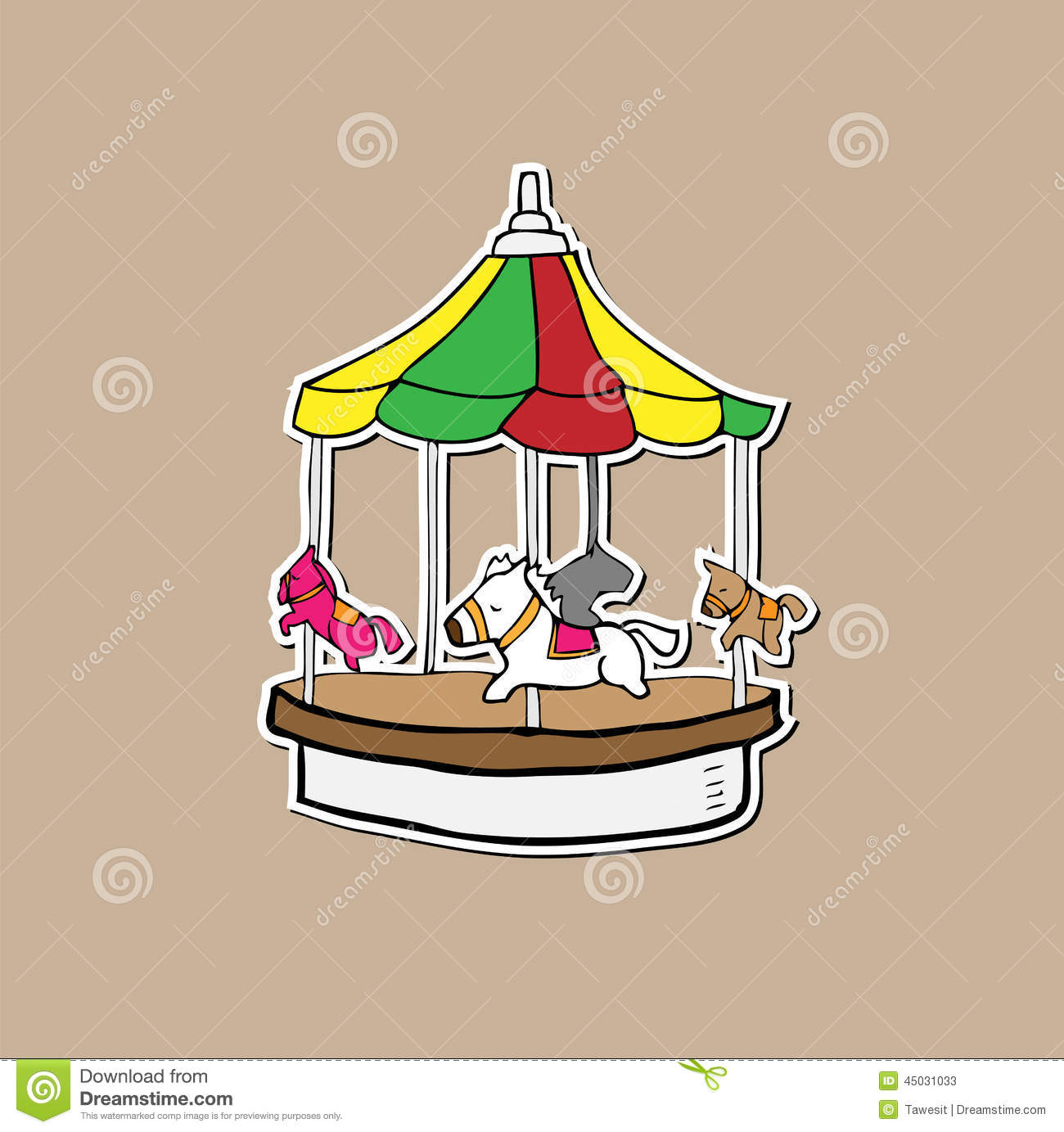 Merry Go Round Amusement Playground Stock Vector - Image ...