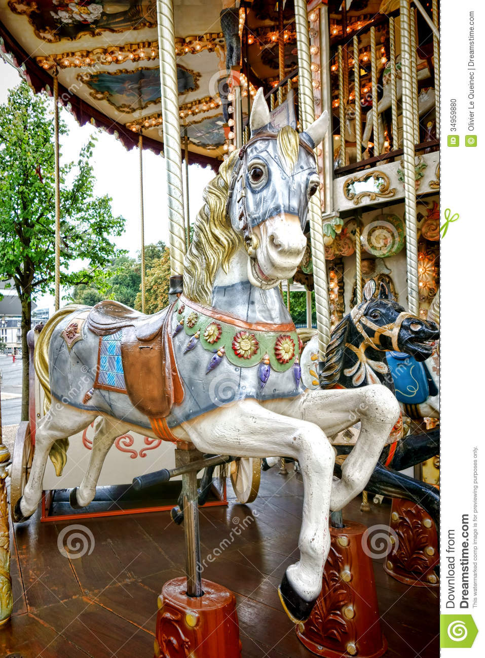 Merry Go Round Amusement Ride Old Carousel Horse Stock Photo - Image ...