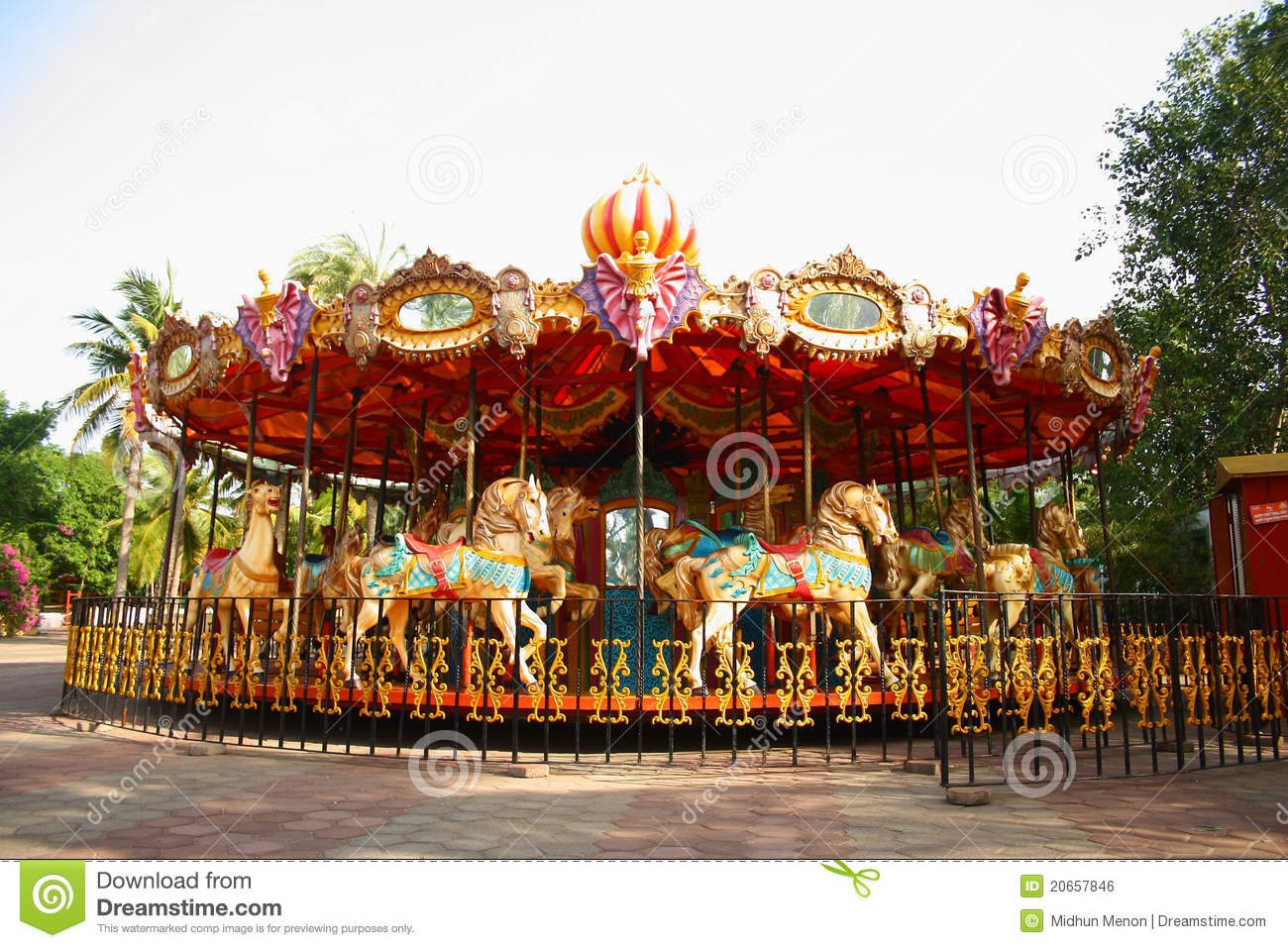Merry go round in empty theme park royalty free stock image image