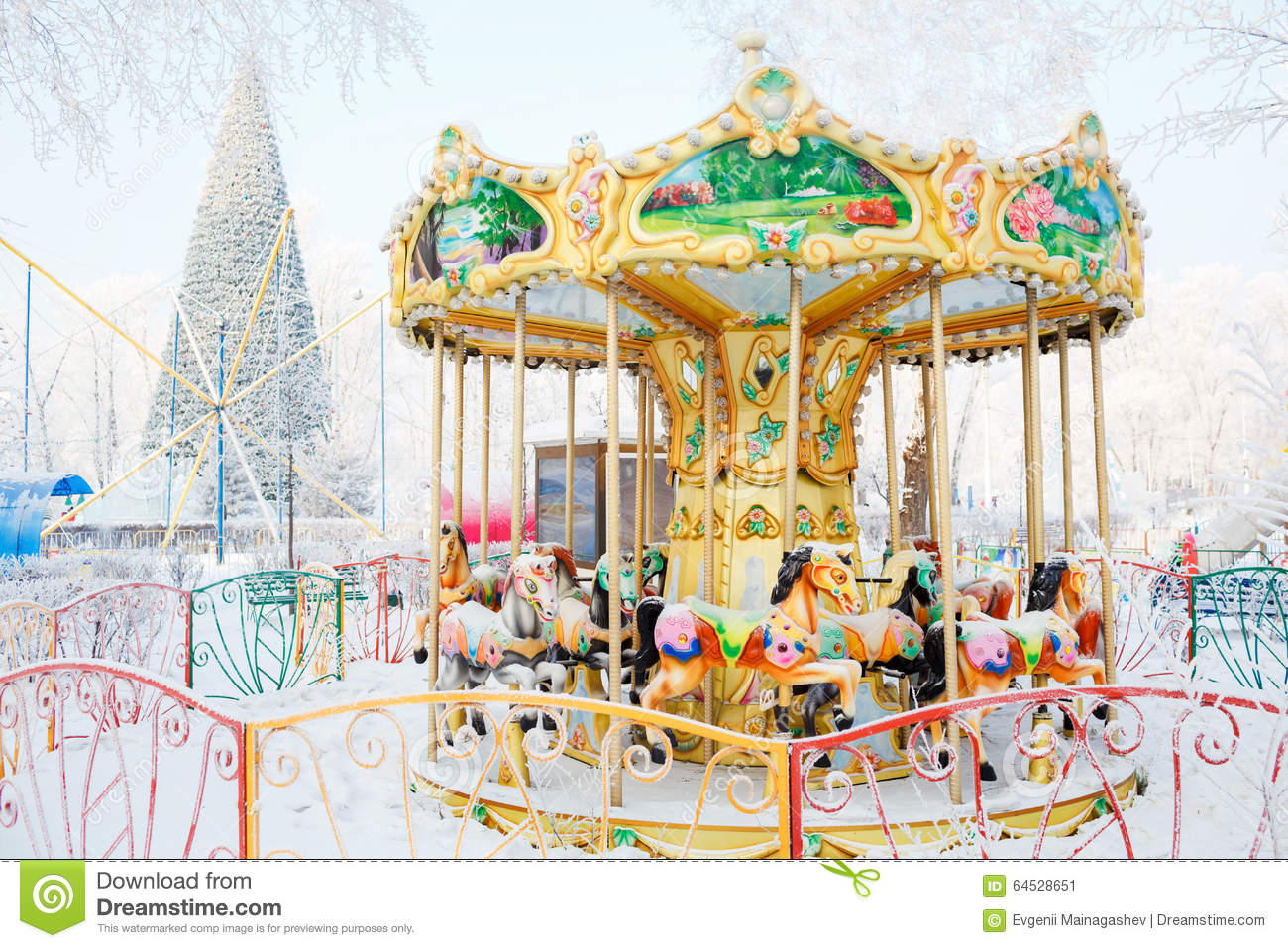 merry go round traditional horses covered with stock photo image 64528651. Black Bedroom Furniture Sets. Home Design Ideas