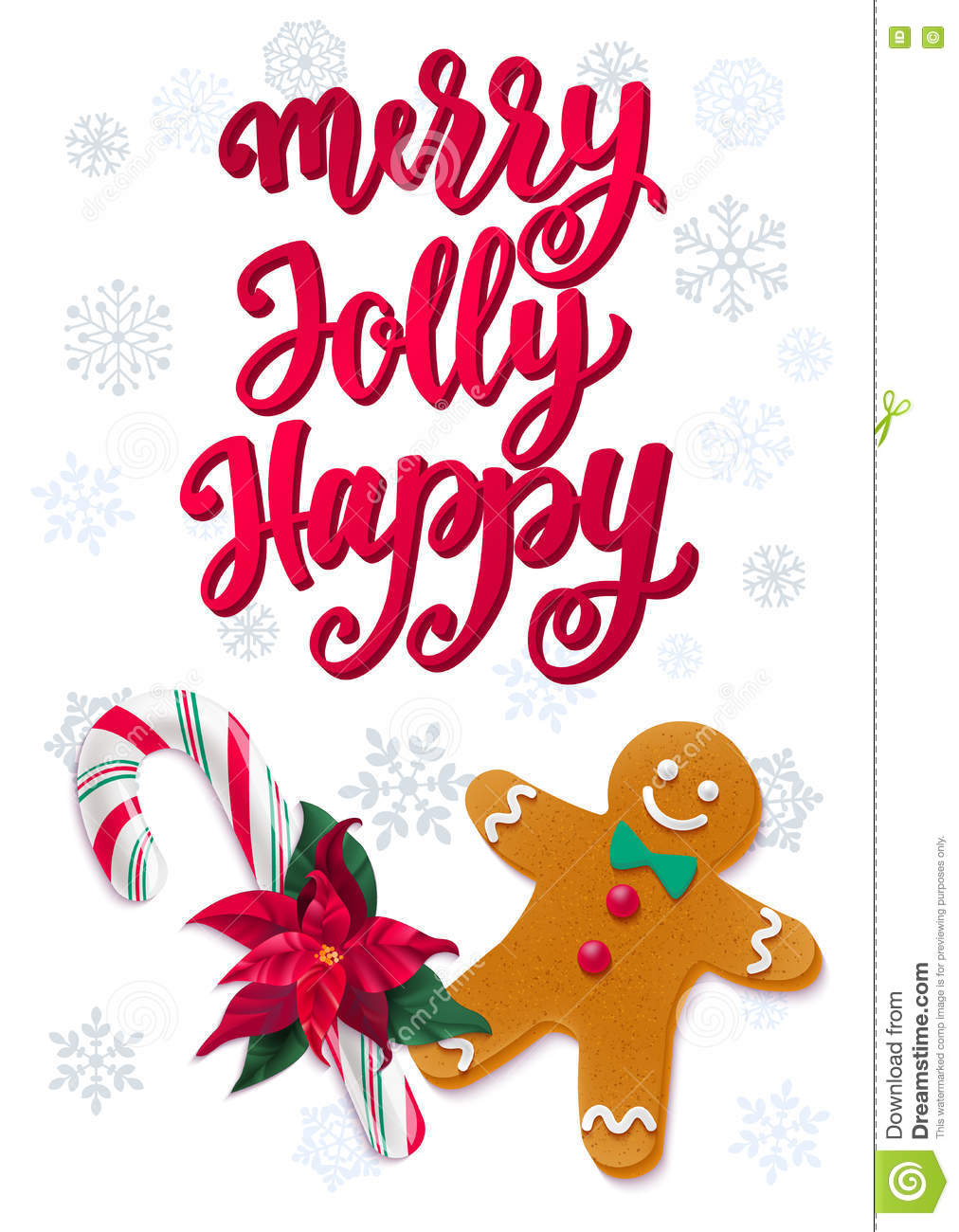 Merry Jolly Happy Holiday Greeting Card With Calligraphy And