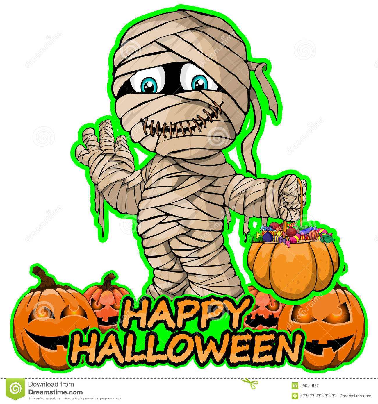 Merry Mummy Wishes Happy Halloween On Isolated White Background. Royalty  Free Vector