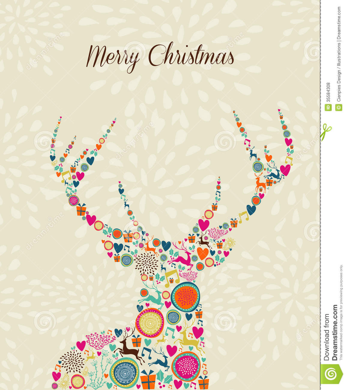 merry vintage christmas elements reindeer greeting stock clip art of deer season clip art of deer faces