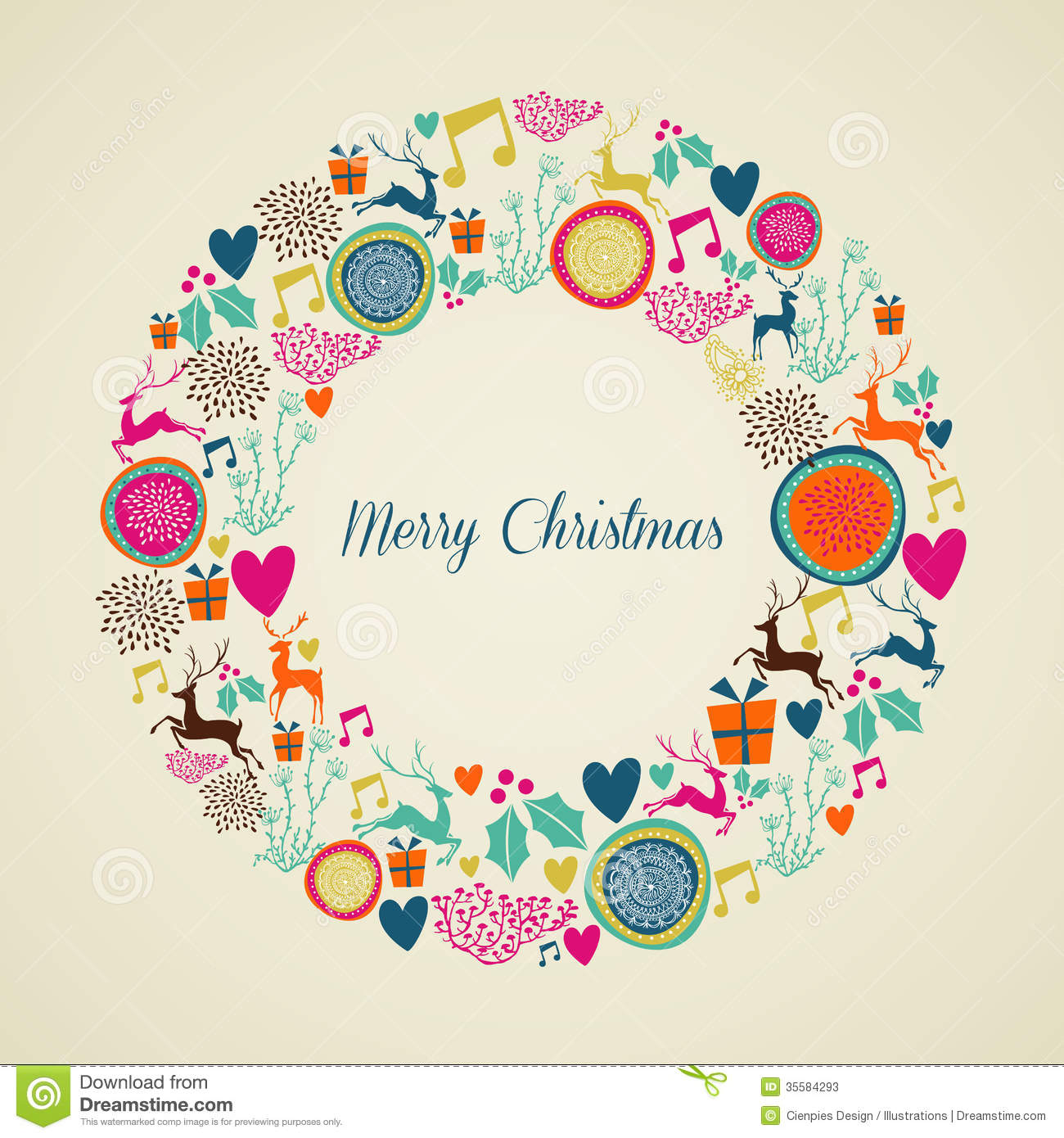Merry Vintage Christmas Elements Wreath Stock Photos