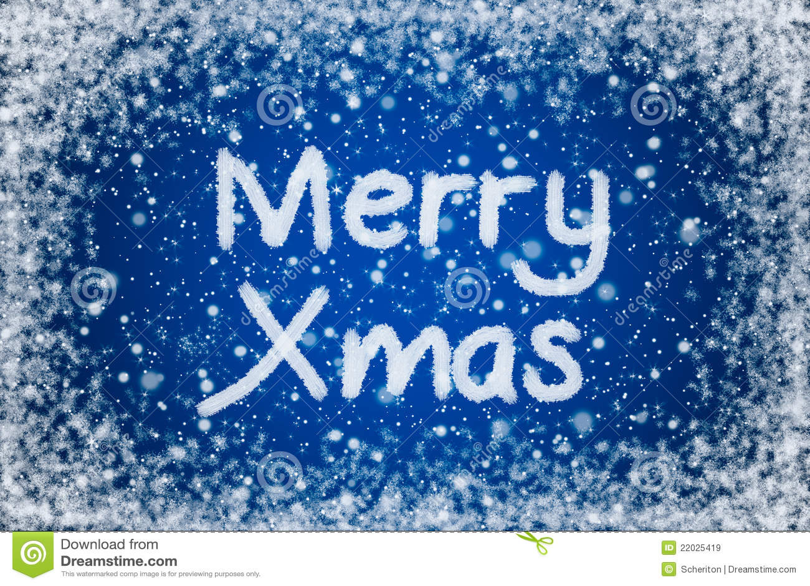 Merry Xmas On Christmas Blue Background Stock Illustration ...