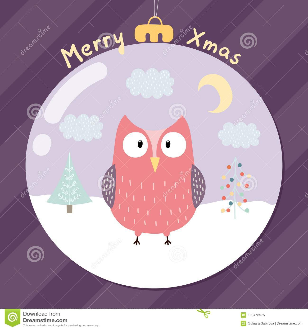 Merry Xmas Greeting Card With A Cute Owl Stock Vector - Illustration ...