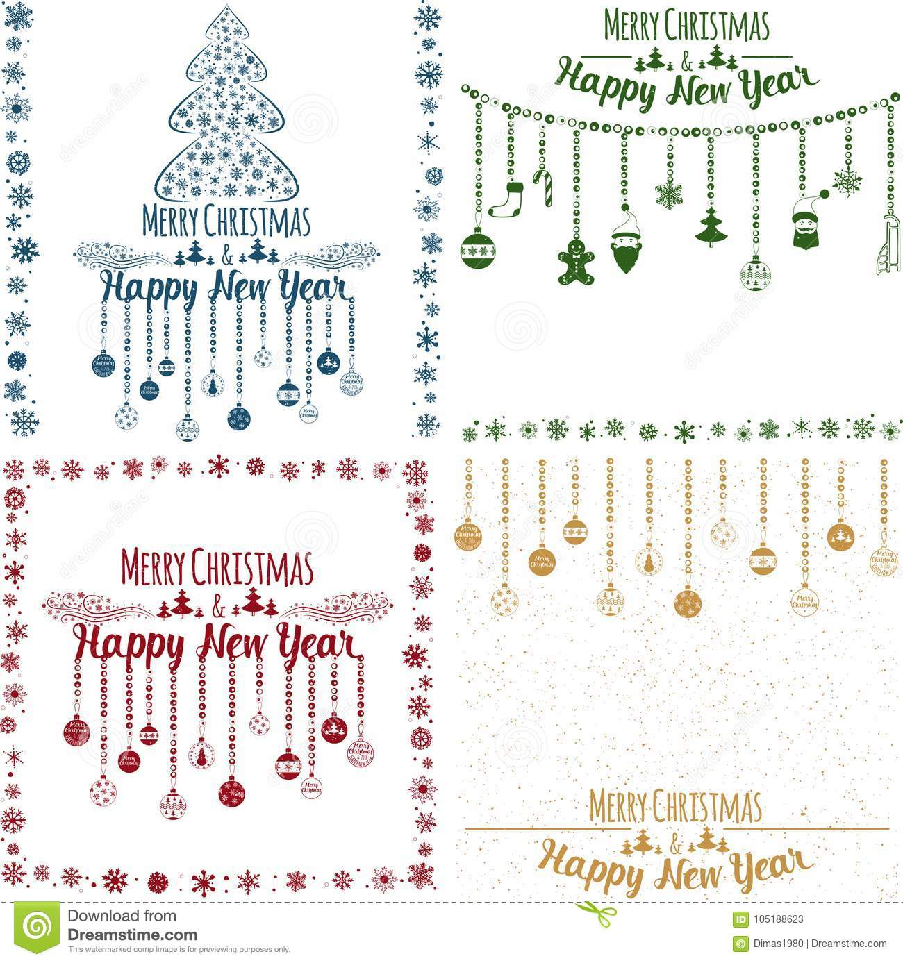 merry xmas and happy new year cards set