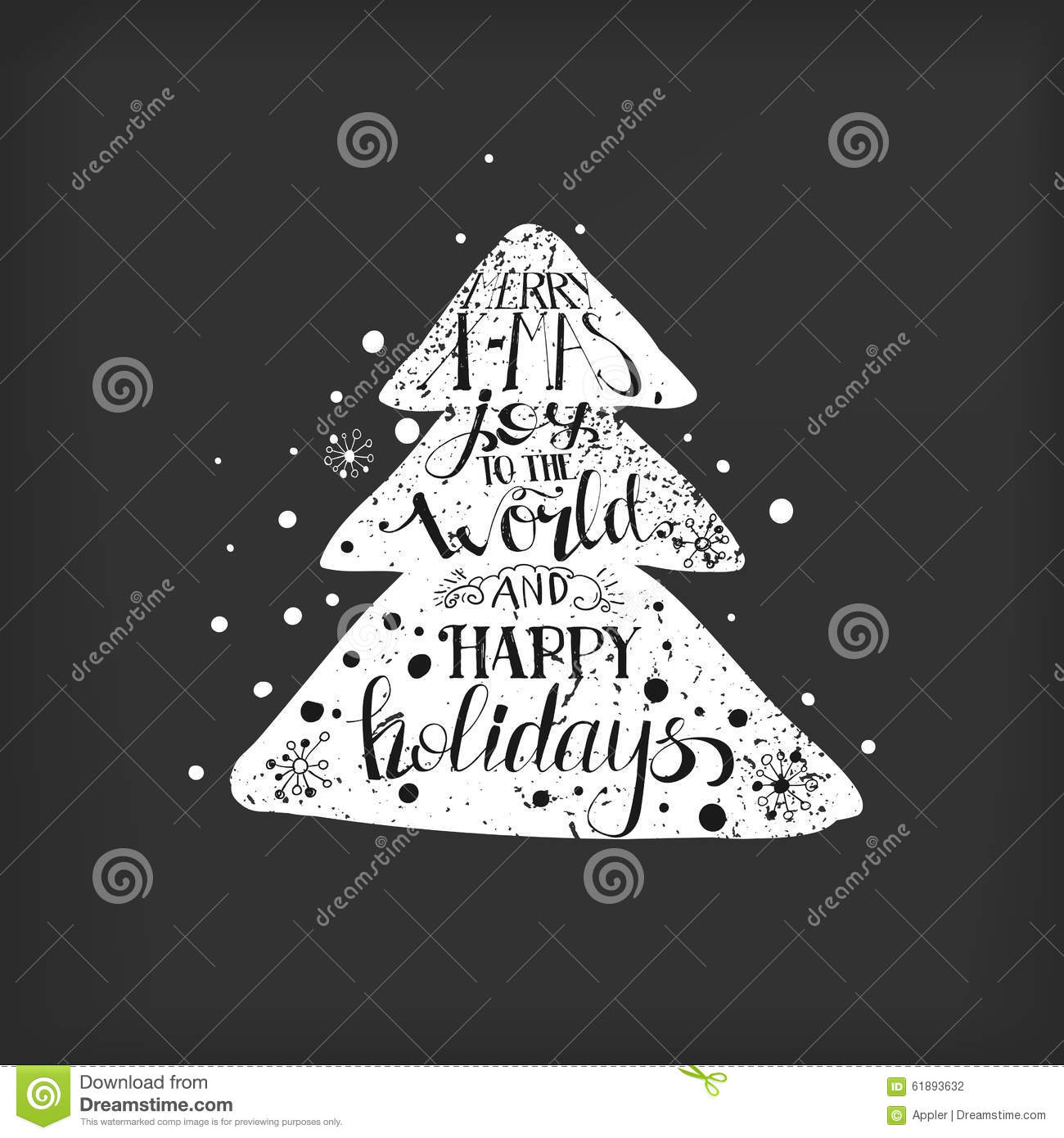Merry Xmas Quote In A Christmas Tree Stock Vector   Illustration Of Print,  Card: 61893632