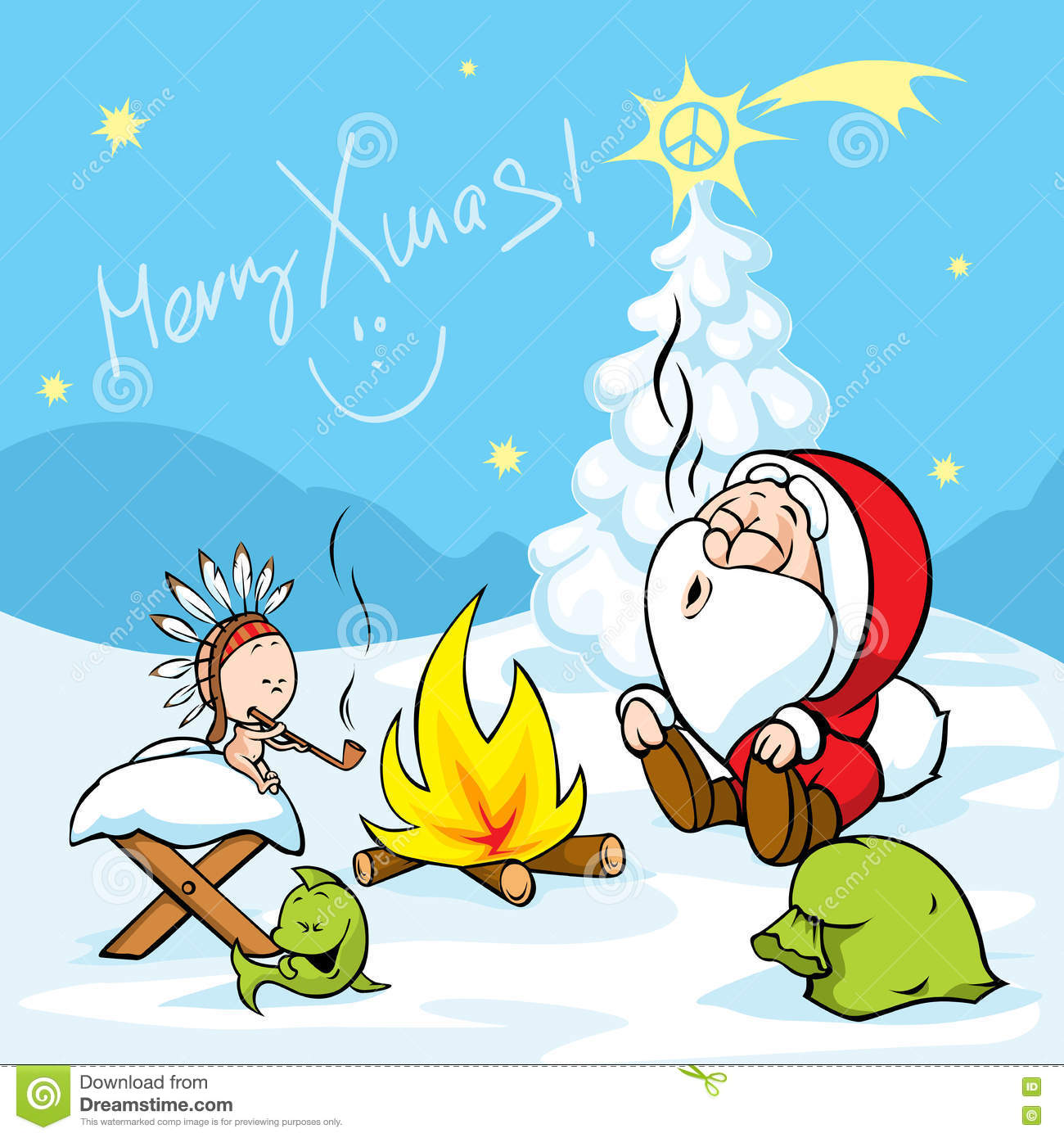 Merry Xmas - Santa With Baby Jesus Sitting By The Fire And Smokes ...