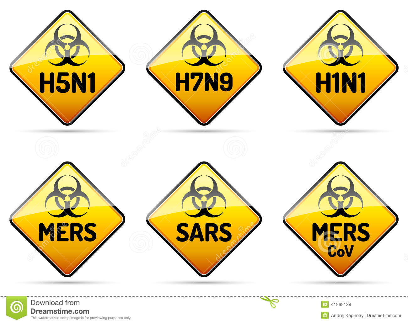 ... warning sign collection with reflect and shadow on white background