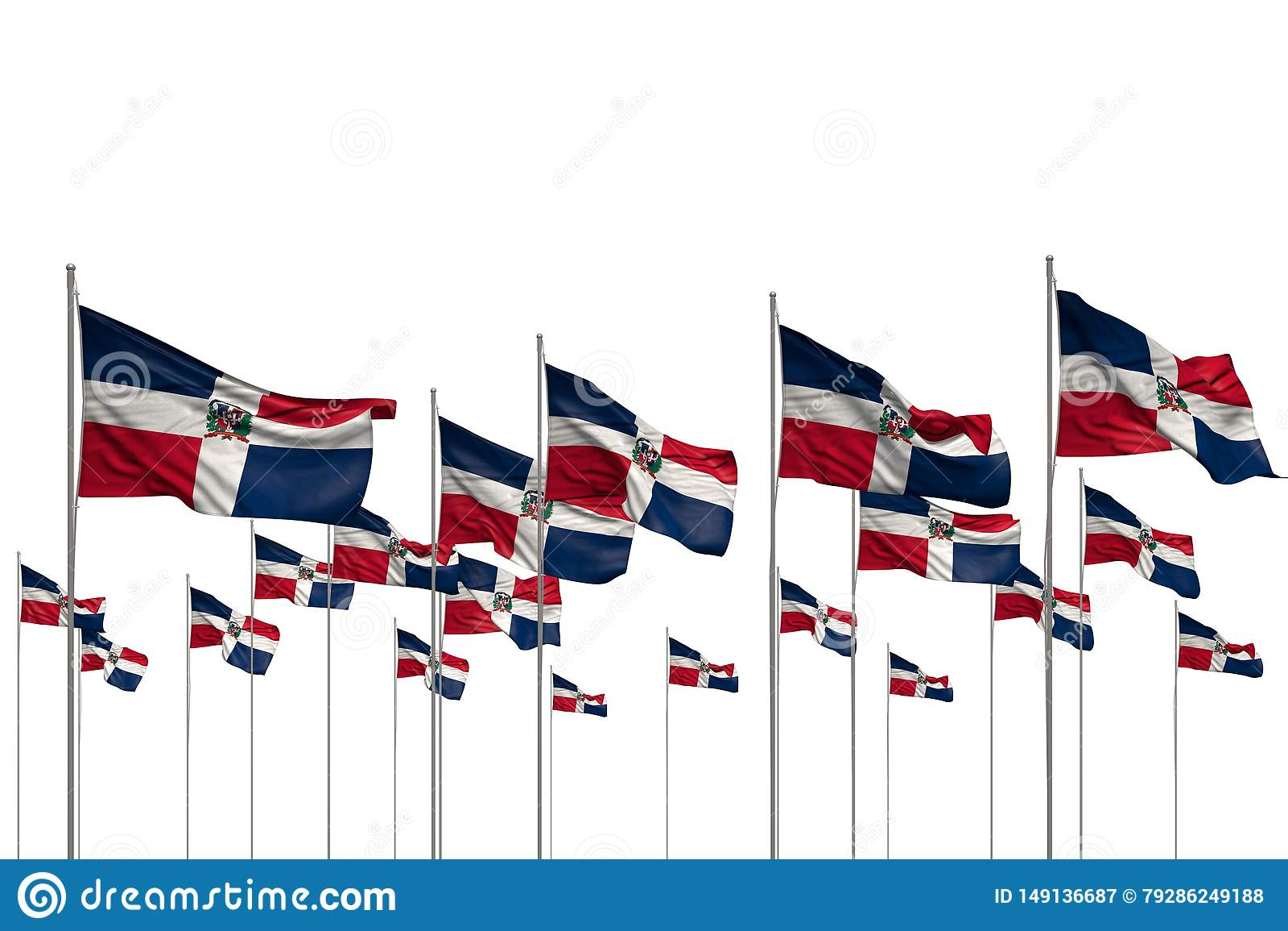 Merveilleux beaucoup de drapeaux de la R?publique Dominicaine dans une rang?e d isolement sur blanc avec l endroit vide pour votr