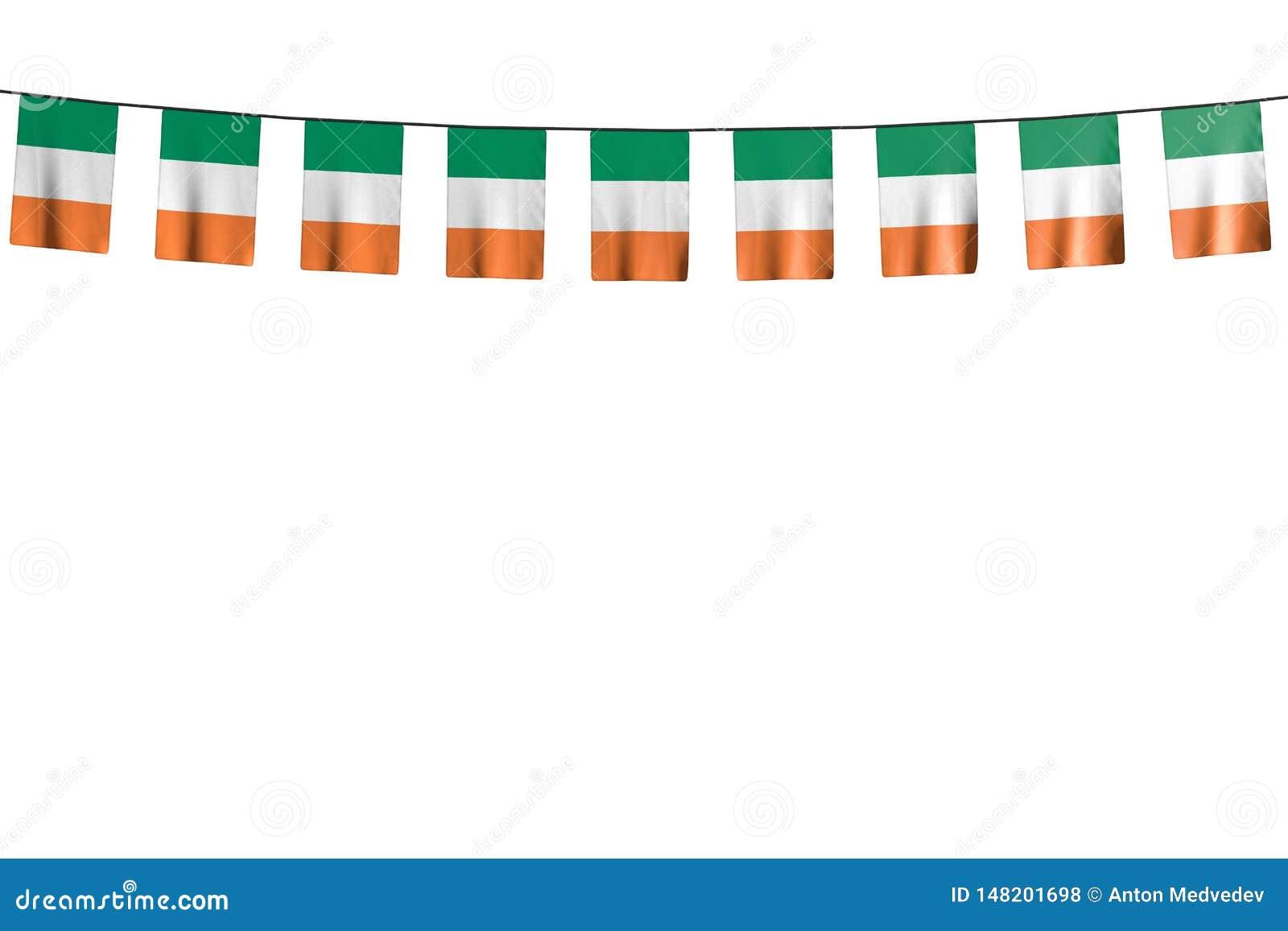 Merveilleux toute illustration du drapeau 3d de festin - beaucoup de drapeaux ou de bannières de l Irlande accrochant sur la cord