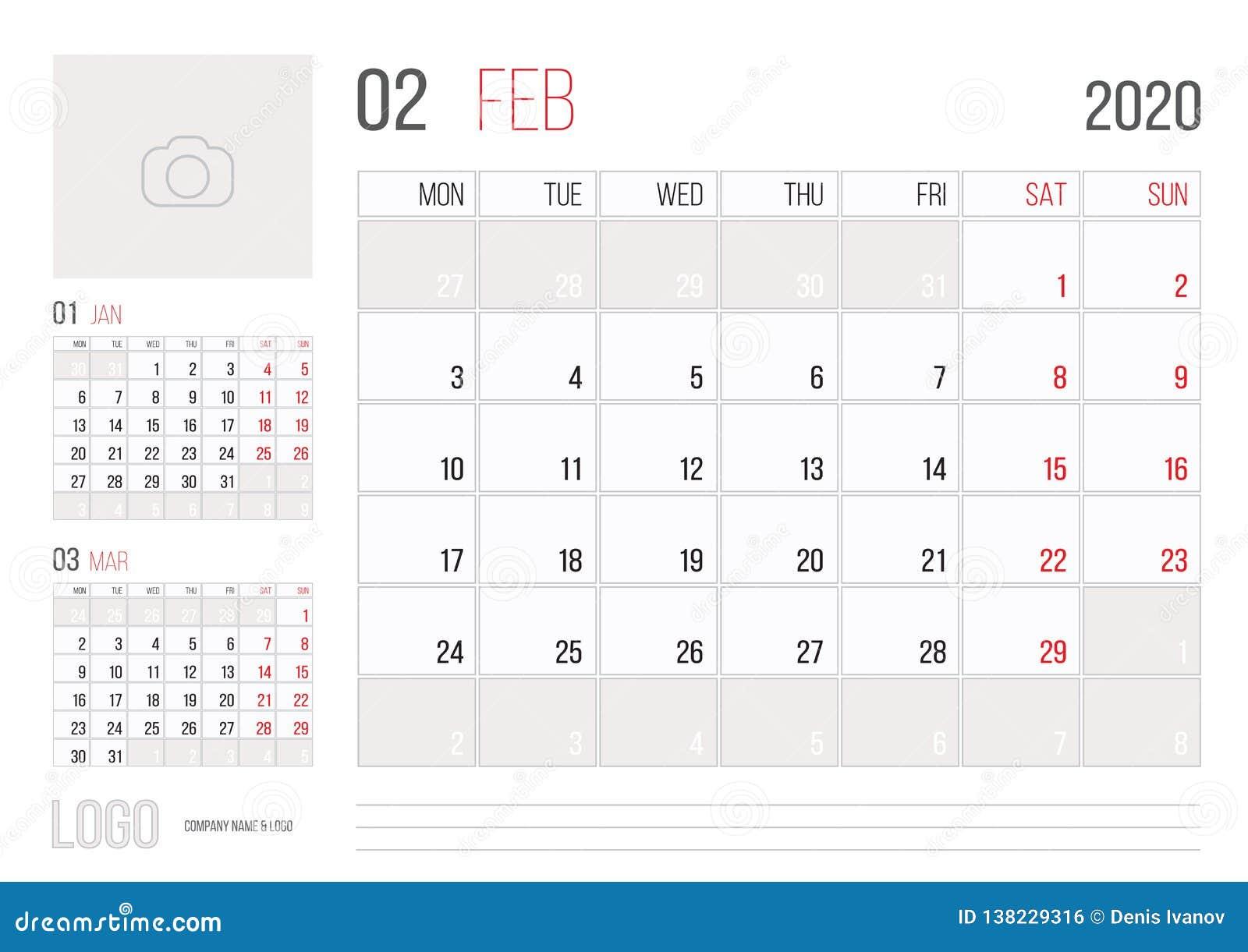 Calendario Anual 2020 Para Imprimir.Mes Corporativo 2020 De Febrero Del Diseno De La Plantilla Del