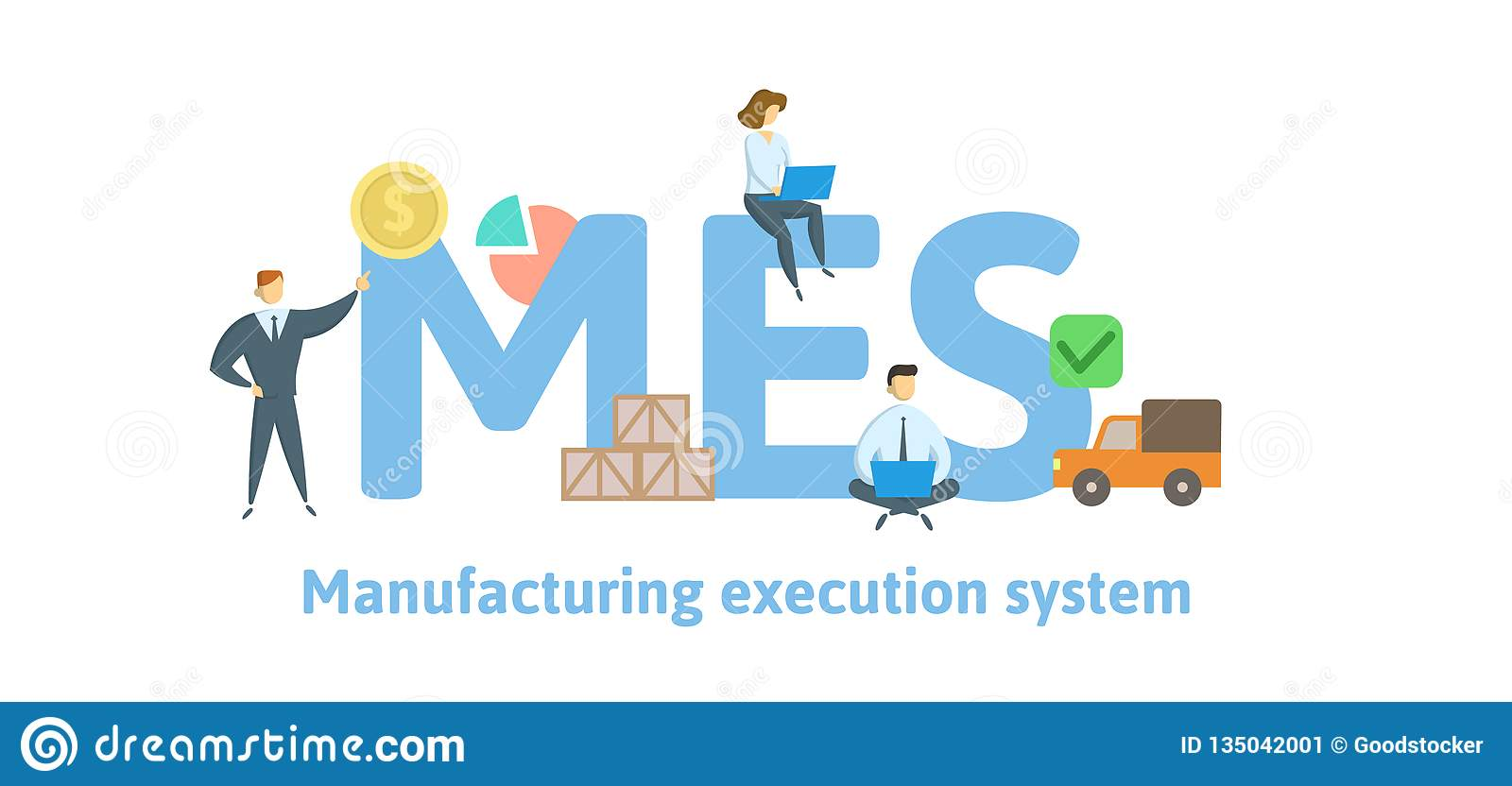 Mes Manufacturing Execution System Concept With Keywords Letters And Icons Flat Vector Illustration Isolated On Stock Vector Illustration Of Electronics Manufacturing 135042001