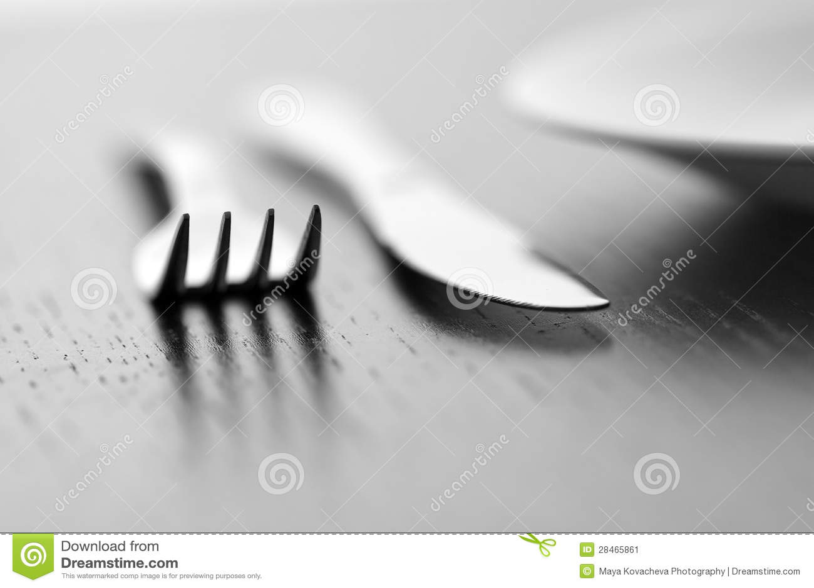 Mes, vork en plaat