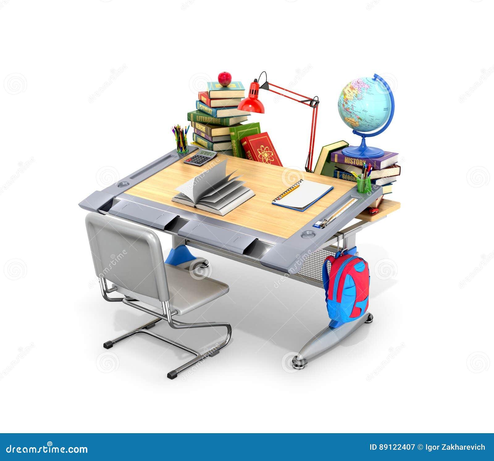 Mesa da escola com livros e fontes de escola