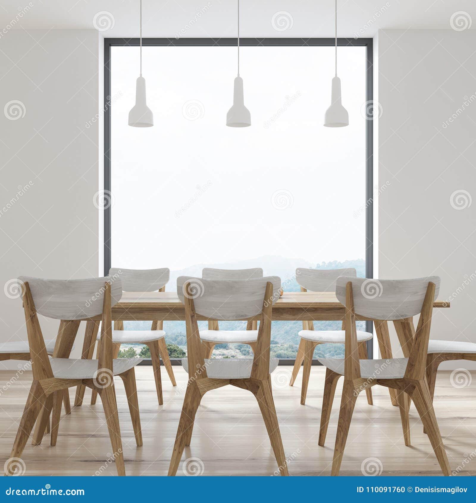 Mesa De Comedor Blanca Con Las Sillas Del Diseño, Ventana Stock de ...