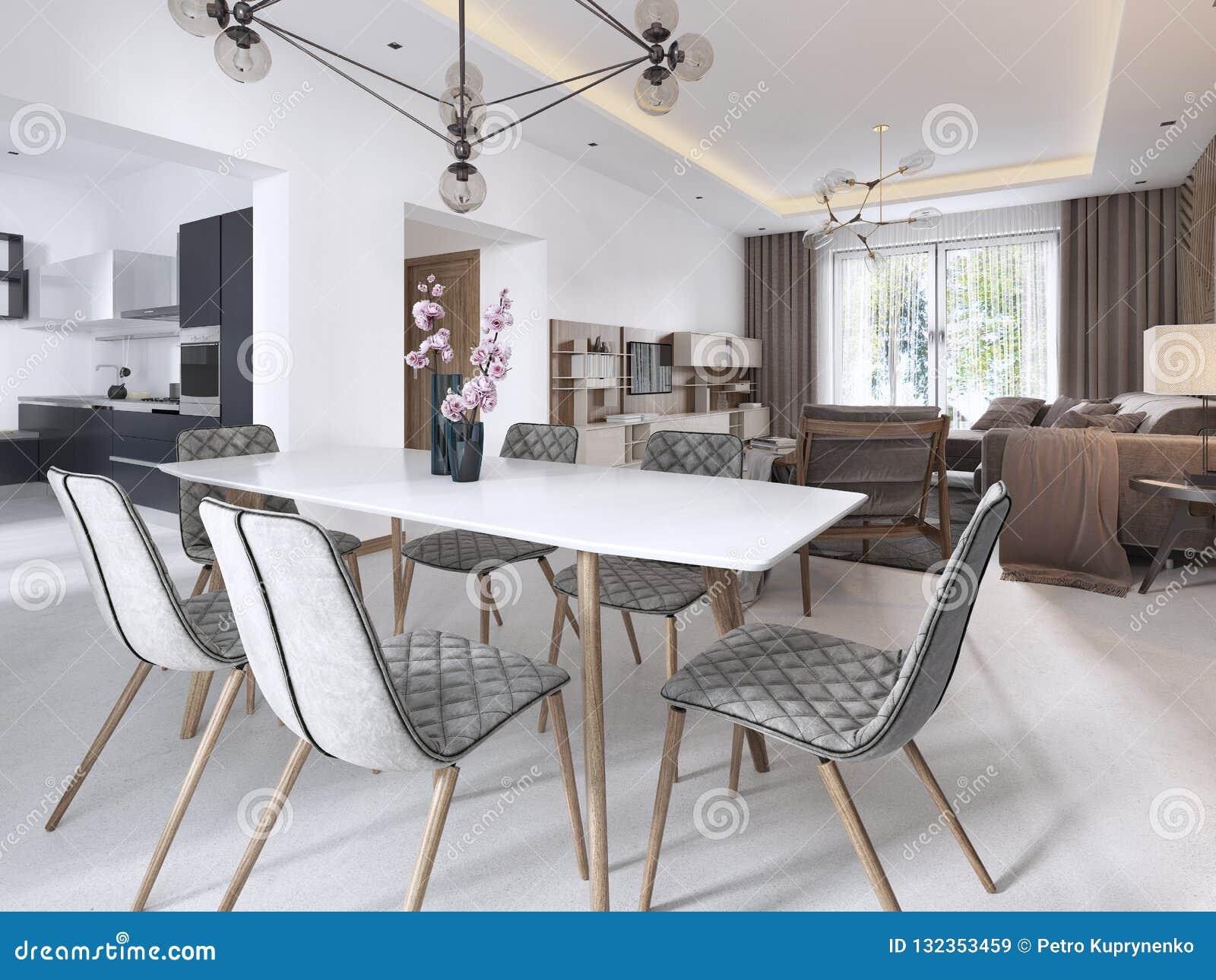 Mesa De Comedor Moderna, Sala De Estar Contemporánea En ...