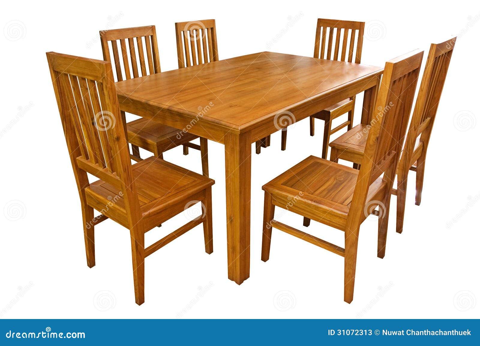 Mesa de jantar e cadeiras isoladas