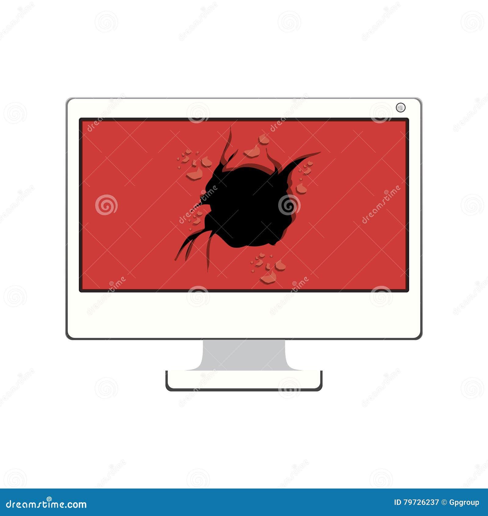 Mesa de la tecnología con la pantalla quebrada
