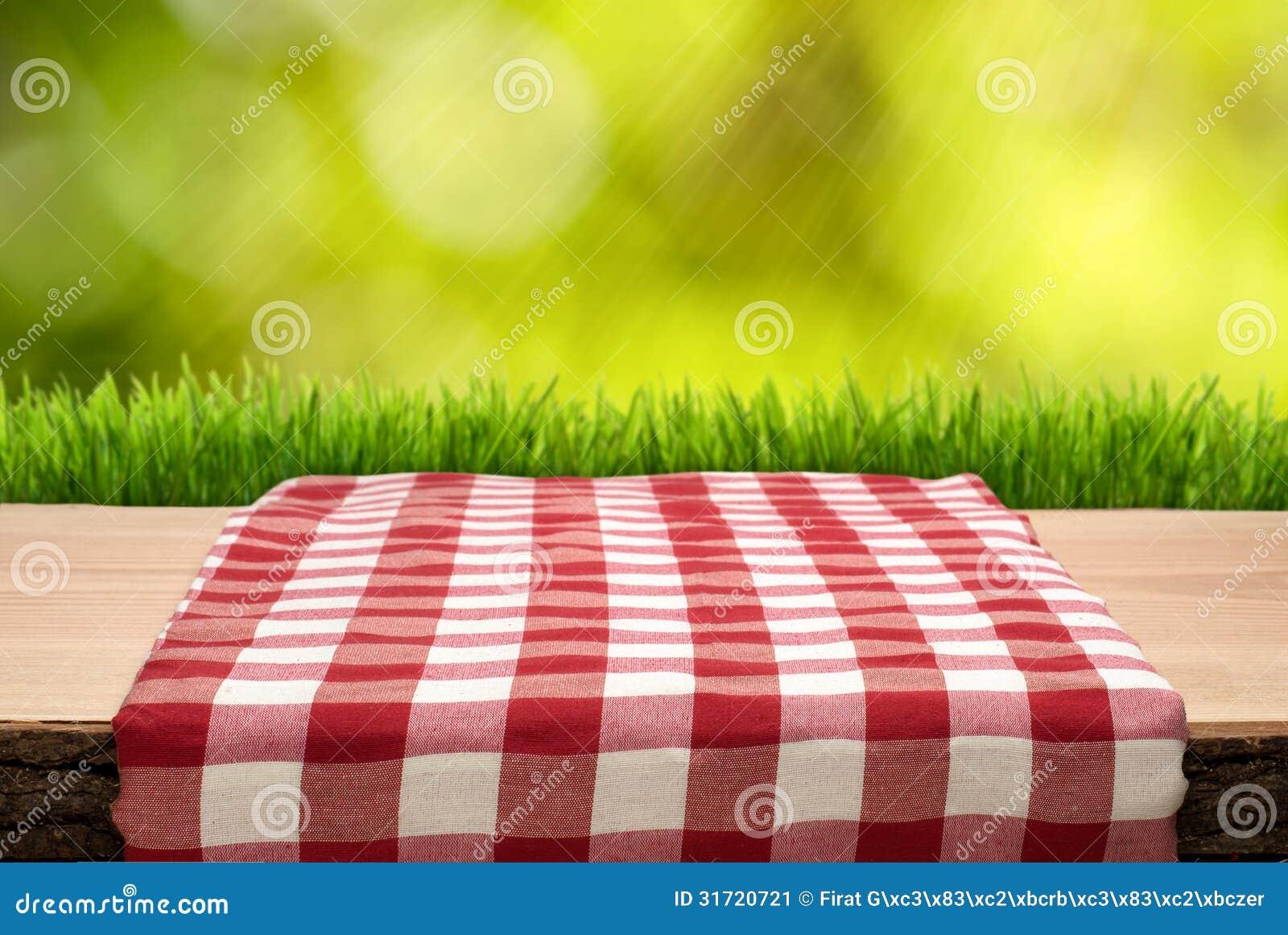 Mesa de picnic con el mantel cheched imagen de archivo for Mesa de picnic madera