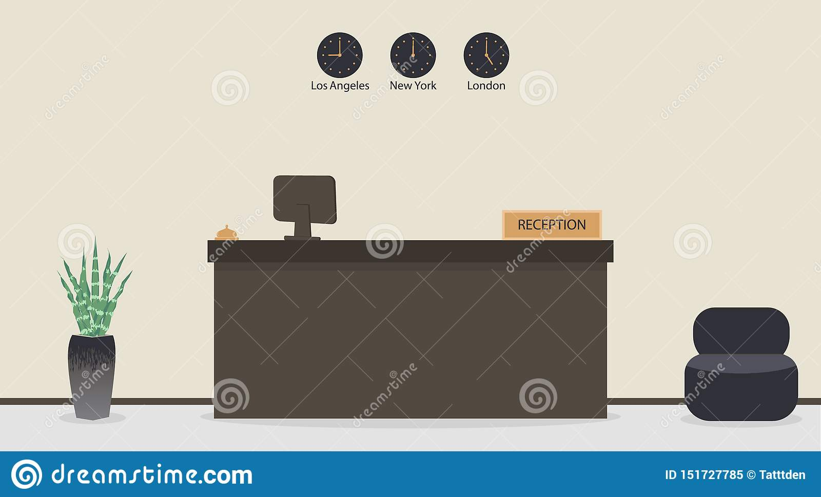 Mesa de recepção vazia no hotel ou no banco, local de trabalho do recepcionista Sala de espera, salão no escritório para negócios