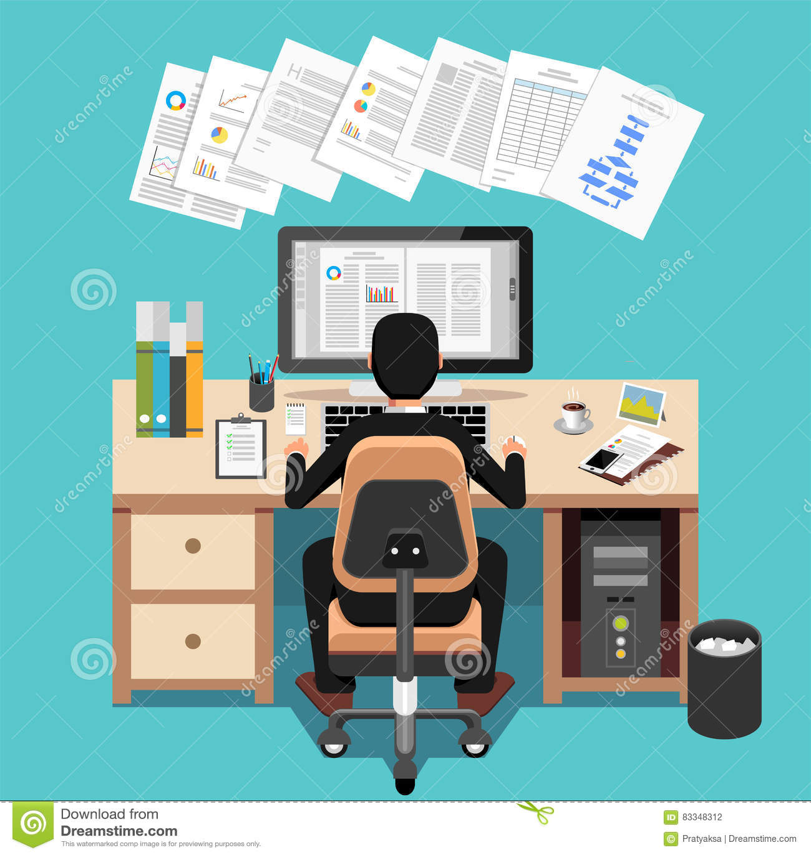Mesa de Using Computer At do homem de negócios