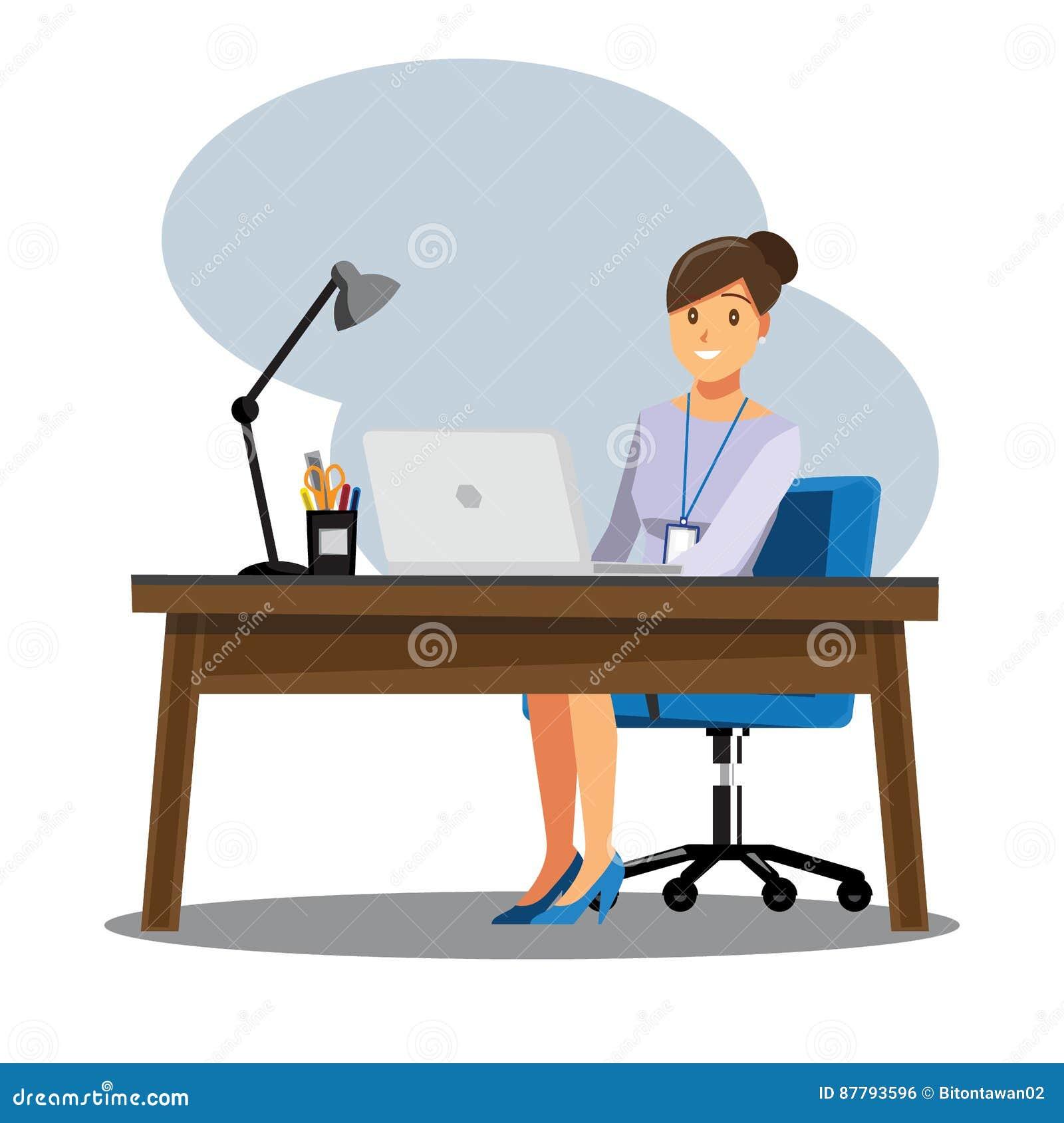 Mesa dos povos das mulheres de negócio, characte dos desenhos animados da ilustração do vetor