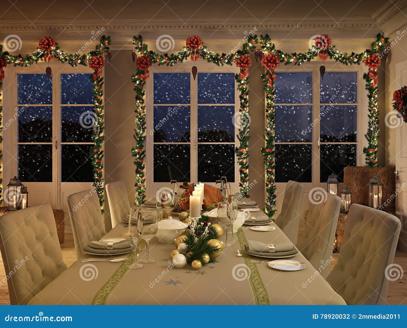 Mesa nórdica con la decoración de la Navidad por noche representación 3d
