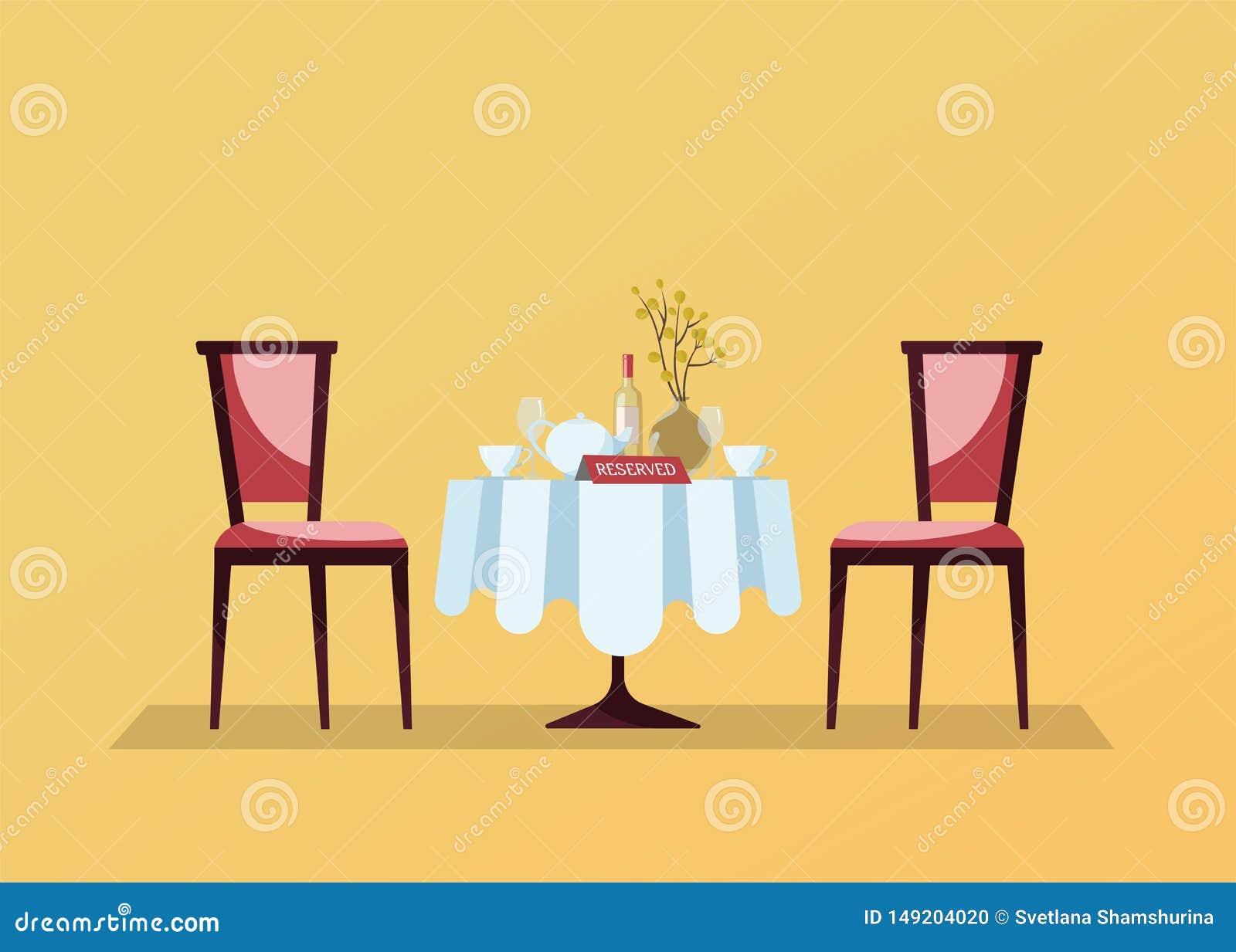 Mesa redonda del restaurante reservado con el mantel blanco, copas, botella de vino, pote, cortes, muestra tablero de la reserva