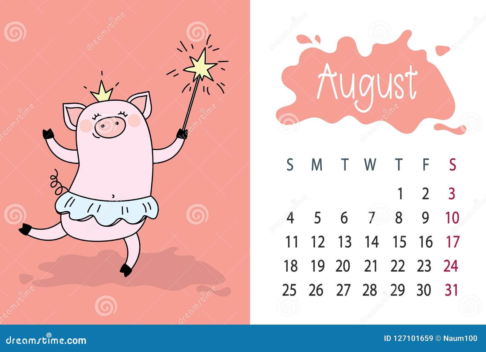 Pagina Calendario Agosto 2019.Mese Augusto Pagina Del Calendario Da 2019 Anni Con Il