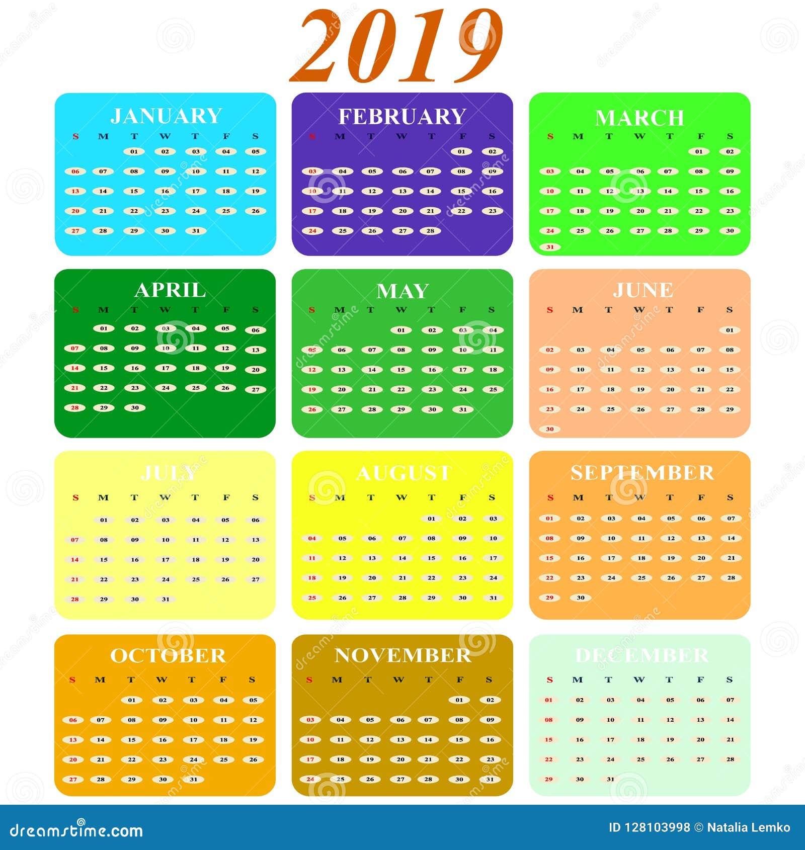 Meses Del Año Del Calendario 2019 De Los Iconos Del Color Ilustración Del Vector Ilustración De Modelo Pictogram 128103998