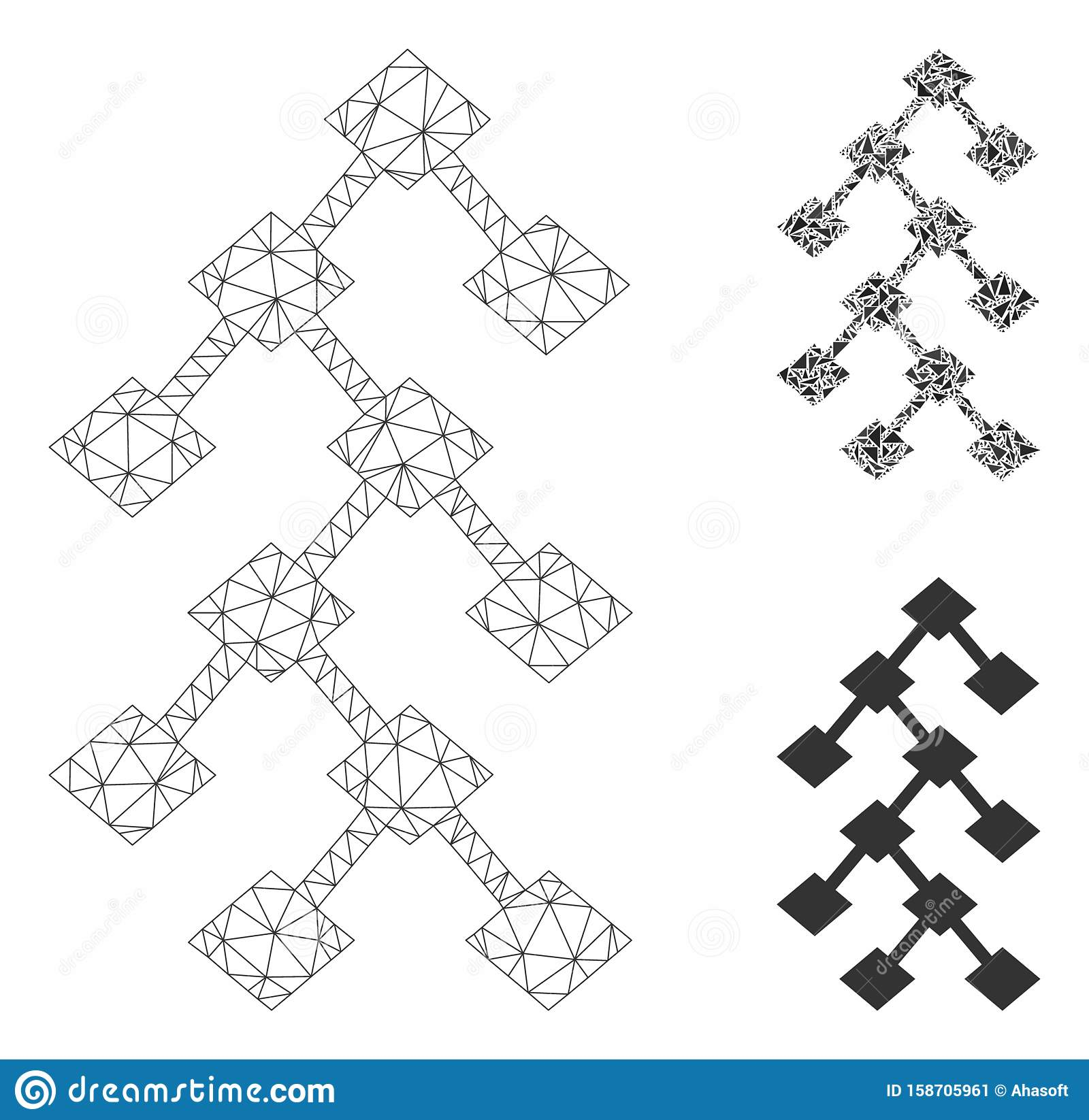 Binary Tree Vector Mesh Network Model and Triangle Mosaic Icon