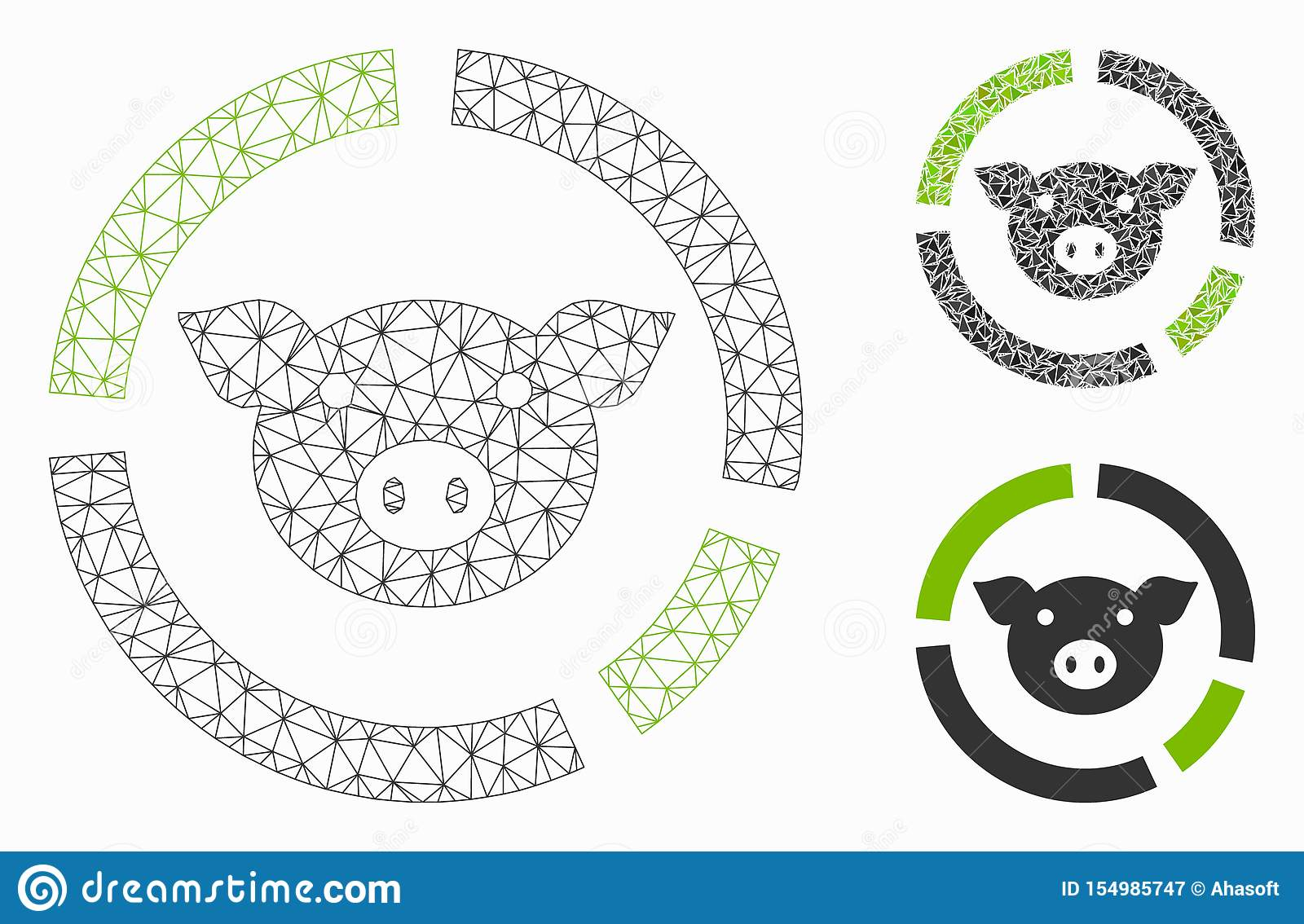 Pig Diagram Vector Mesh Wire Frame Model And Triangle Mosaic Icon Stock Vector