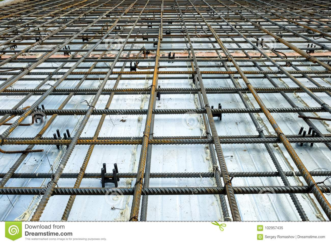 Mesh For Reinforcement Concrete Slab Stock Image Image Of