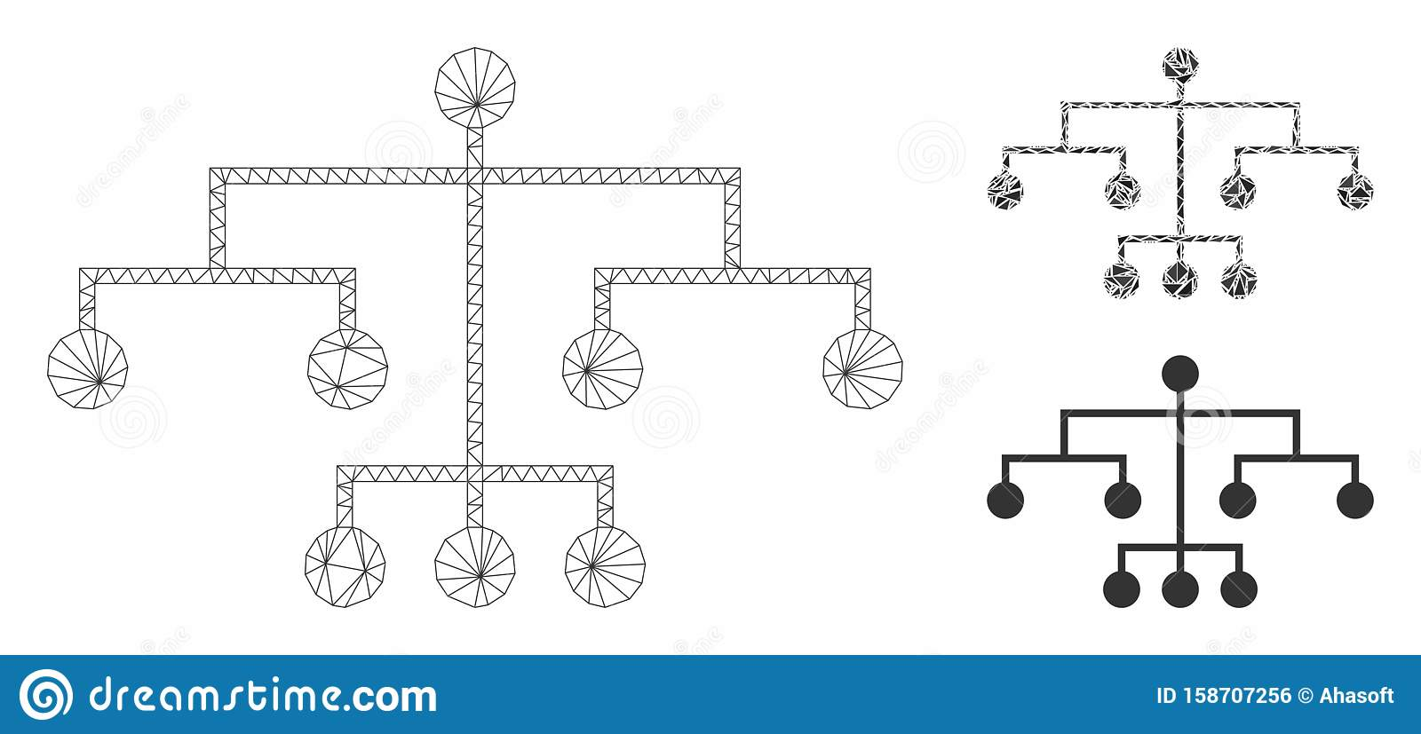 Script Tree Vector Mesh Wire Frame Model and Triangle Mosaic Icon