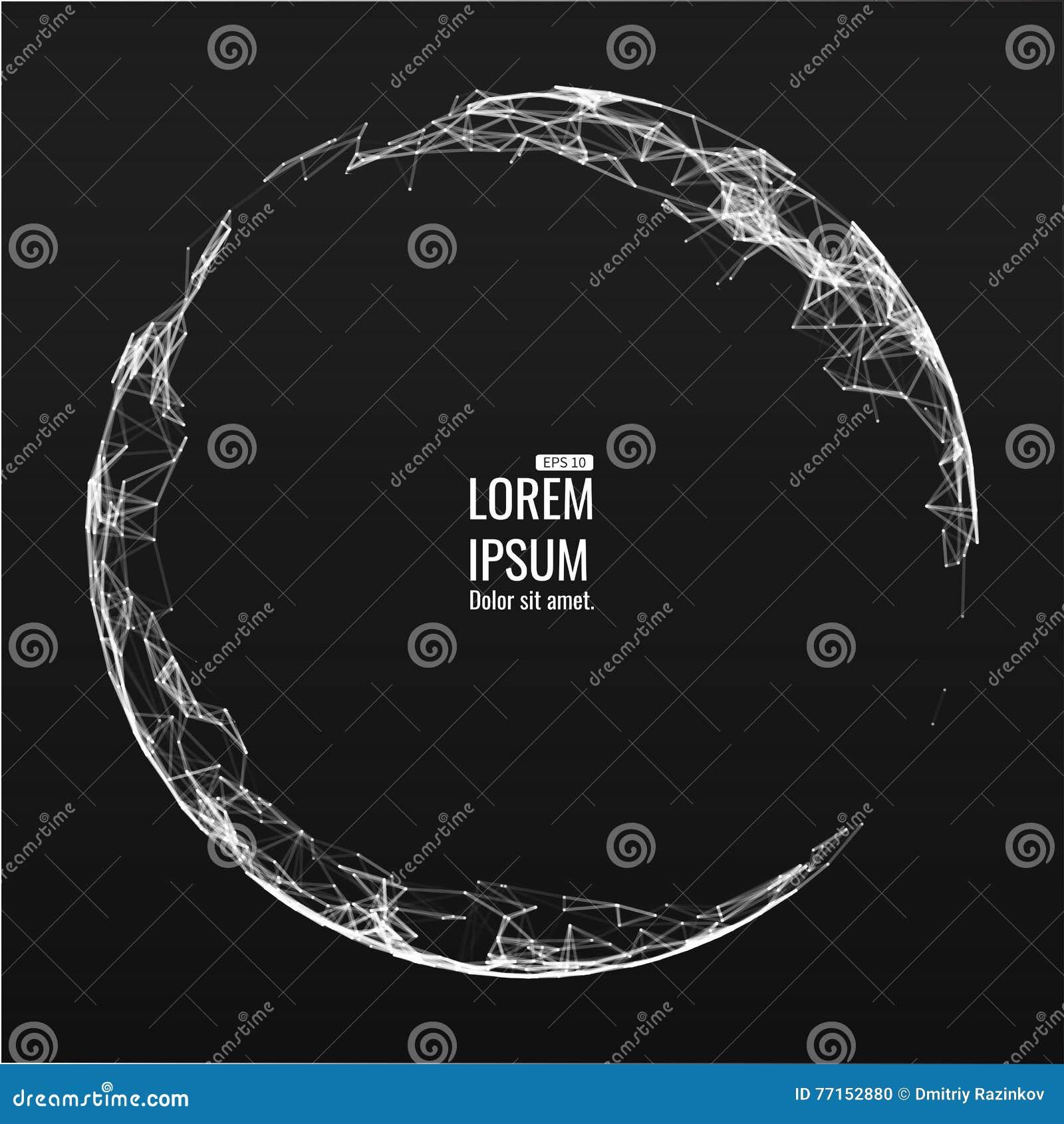 Mesh Sphere tordu lumineux par 3d abstrait Signe au néon Technologie futuriste HUD Element Élégant détruit
