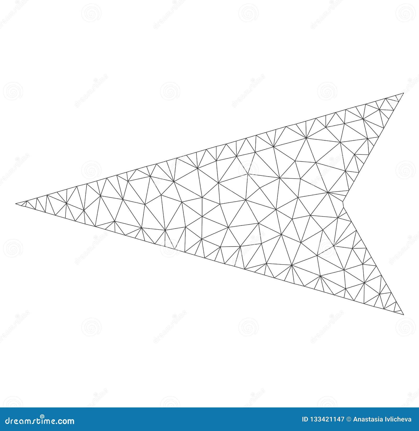 Mesh Vector Arrowhead Left Icon