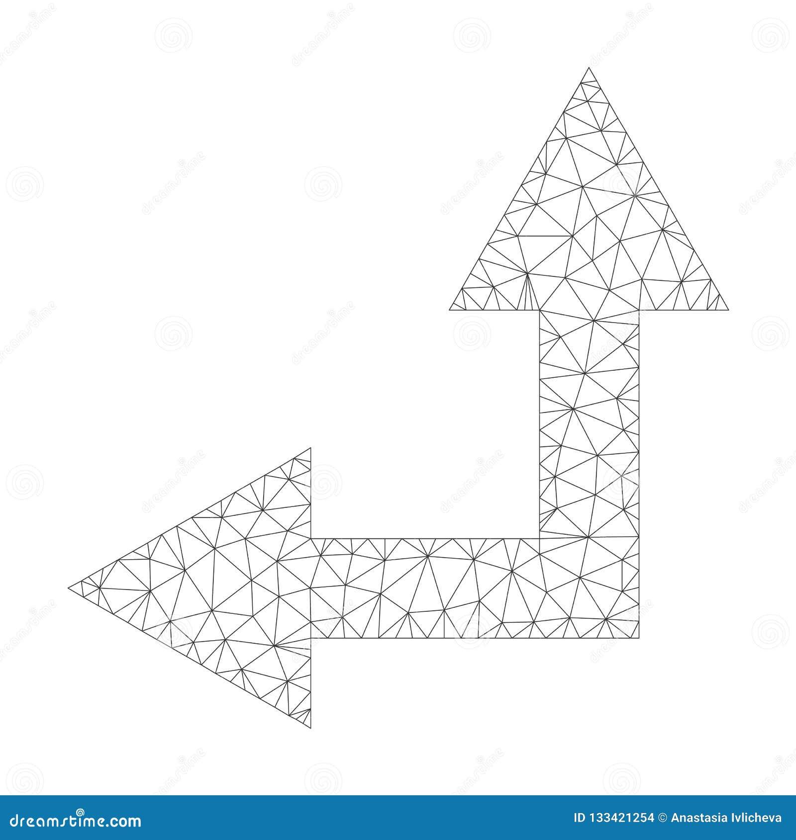 Mesh Vector Bifurcation Arrow Left sull icona