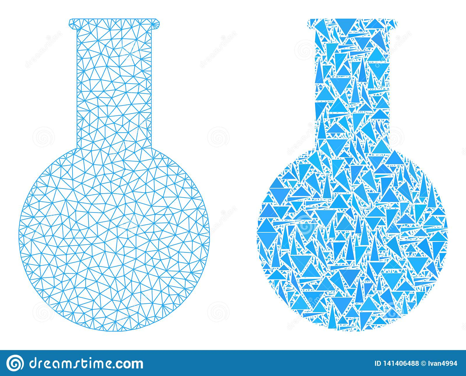 Polygonal Wire Frame Mesh Chemical Flask And Mosaic Icon