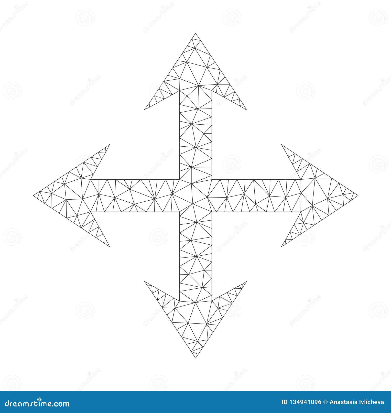 Mesh Vector Expand Arrows Icon Stock Vector - Illustration