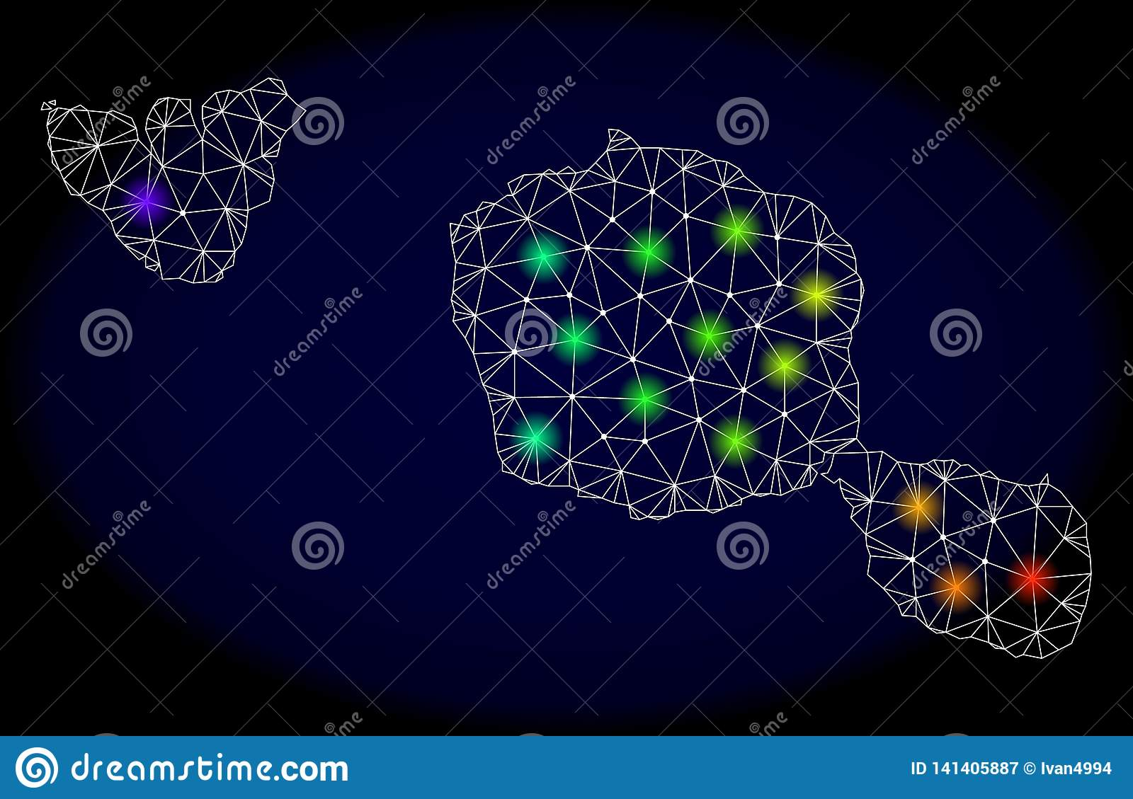 Polygonal Network Mesh Map Of Tahiti And Moorea Islands With ...