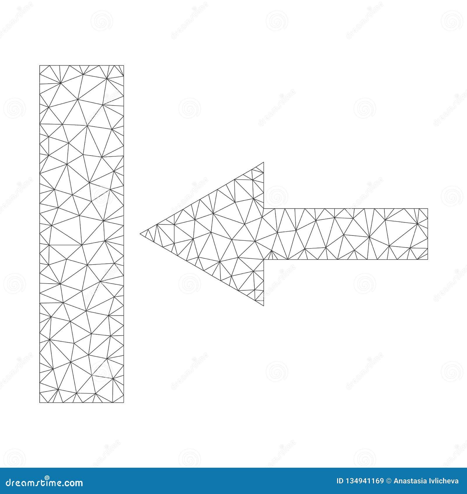 Mesh Vector Move Left Icon