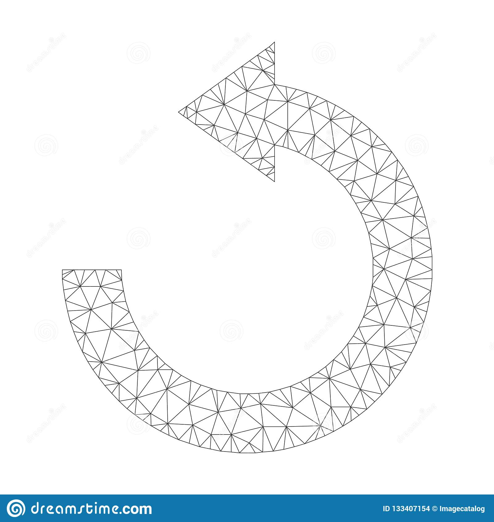 Mesh Vector Rotate Left Icon
