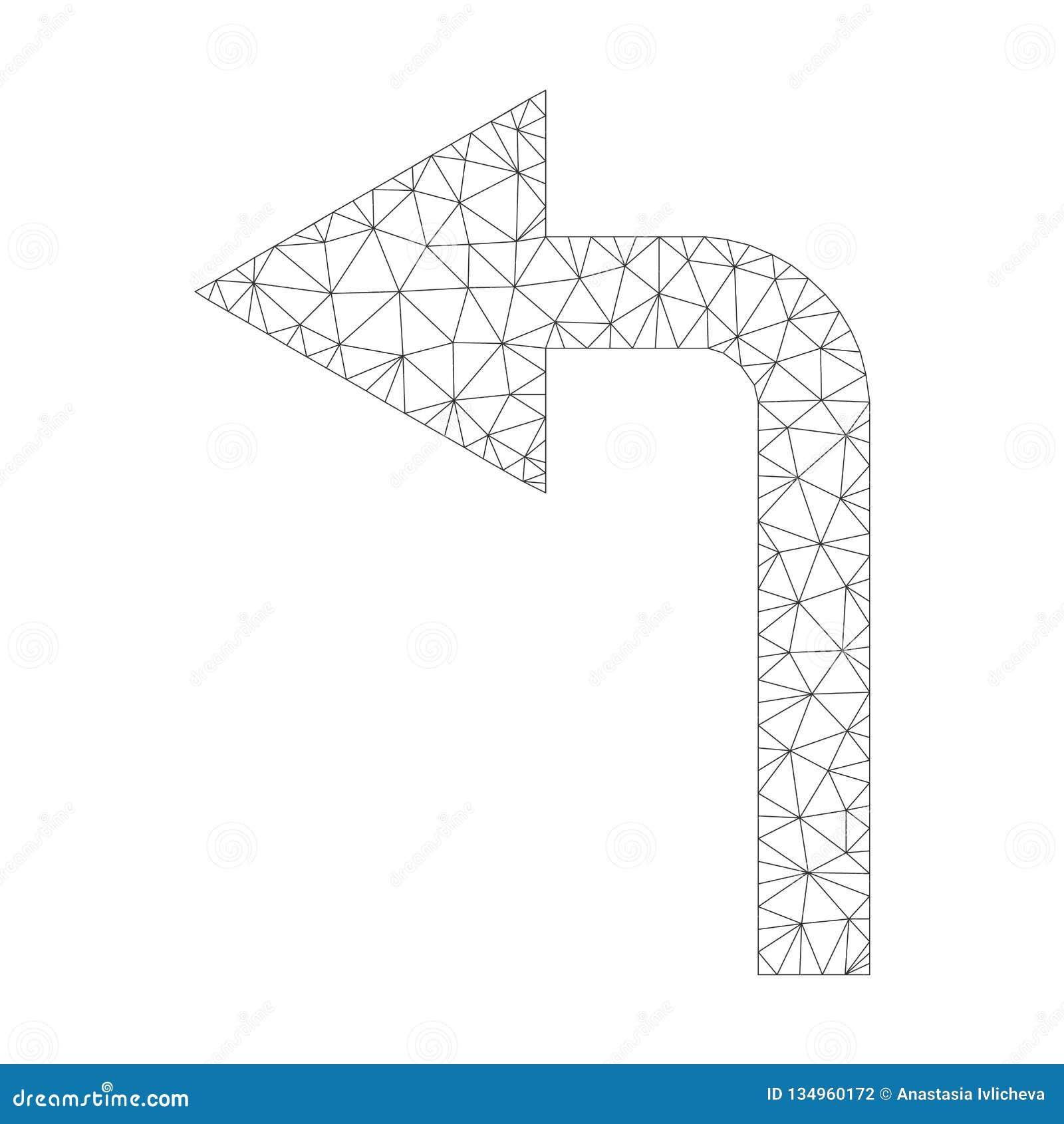 Mesh Vector Turn Left Icon