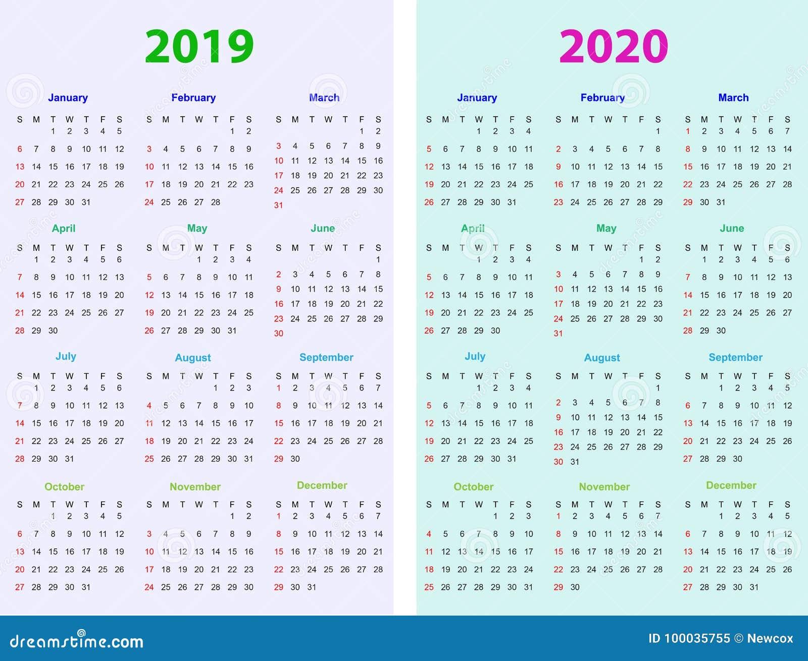 Calendario 2020 Vettoriale Gratis.12 Mesi Di Progettazione 2019 2020 Del Calendario