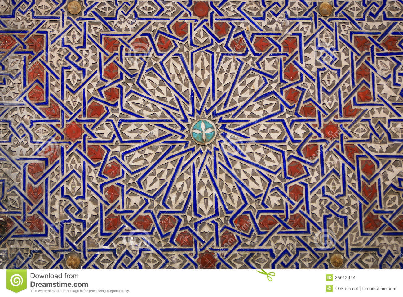 Azulejo Moroccan Arabic Designs In Clay Stock Photo