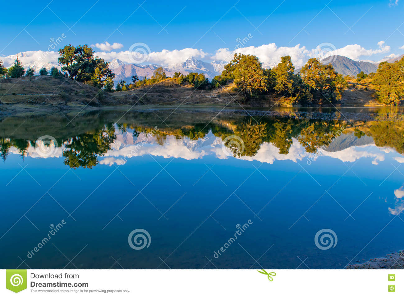 Mesmerizing reflection of Garhwal Himalayas in Deoria Tal or Lake.