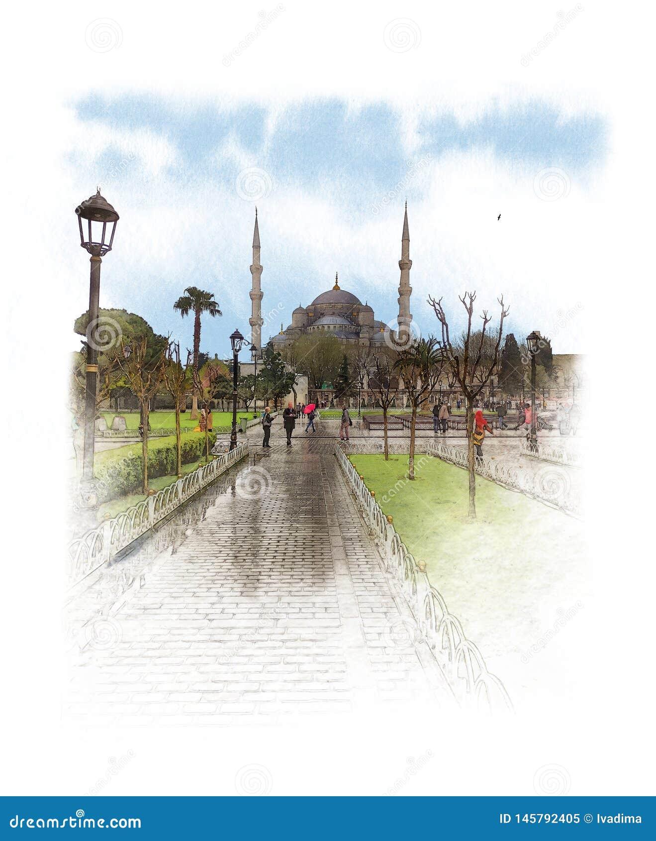 A mesquita azul, igualmente chamou a mesquita de Sultan Ahmed no centro de Istambul Esbo?o da aquarela
