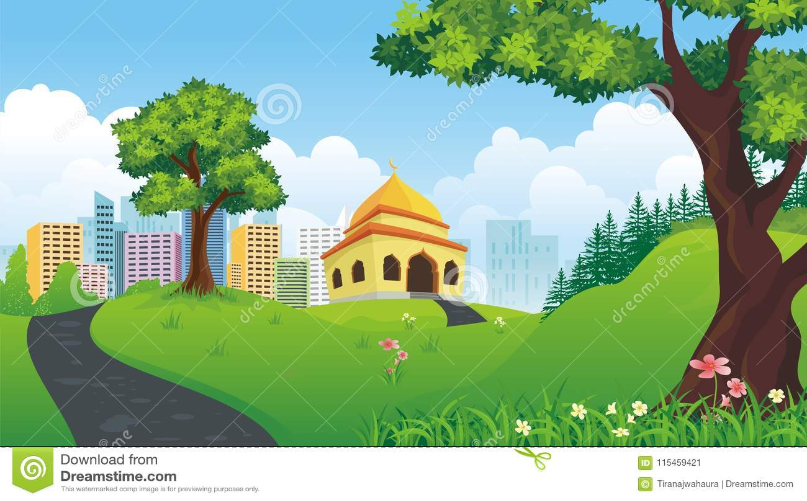 Mesquita dos desenhos animados com natureza e paisagem da cidade